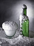 Frozen bottle ice cold drink snow winter Royalty Free Stock Photography
