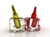 Frozen bottles Stock Photography
