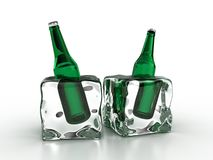 Frozen bottles Stock Photo