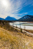 Frozen Bow River of Banff National Park Stock Photos