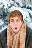 Frozen boy Stock Images