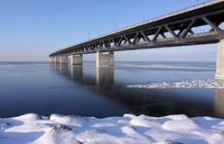 Frozen bridge stock image