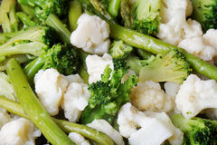 Frozen broccoli, cauliflower and asparagus Royalty Free Stock Photo