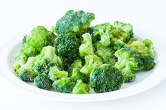 Frozen broccoli on white plate Royalty Free Stock Photos