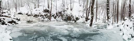 Frozen brook. Panorama-photo with a frozen brook Royalty Free Stock Photo