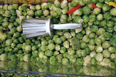 Frozen Brussels sprouts and scoop Royalty Free Stock Photo