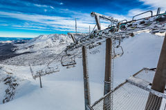Frozen cableway in the mountains, Tatras Stock Images