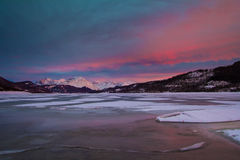 A frozen Campotosto lake in Abruzzo Royalty Free Stock Photos