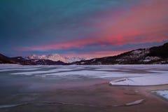 A frozen Campotosto lake in Abruzzo Royalty Free Stock Photos