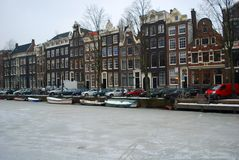 Frozen canal in Amsterdam Stock Image