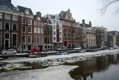 Frozen canal in Amsterdam Stock Images