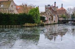 Frozen Canal in Bruges, Belgium Stock Image