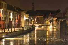 Frozen canal in the city of Ghent Stock Photos