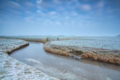 Frozen canal on Dutch farmland Royalty Free Stock Photos