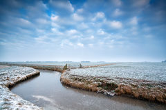 Frozen canal on Dutch winter farmland Stock Photography