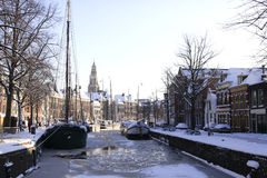 Frozen canal in the Netherlands Royalty Free Stock Photos