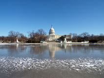 Frozen Capitol. Frozen United States Capitol building.  Winter in Washington DC Royalty Free Stock Image