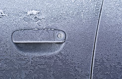 Frozen Car Door Stock Image