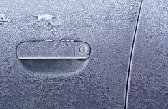 Frozen Car Door. Closeup, ice crystals, jammed lock Stock Image