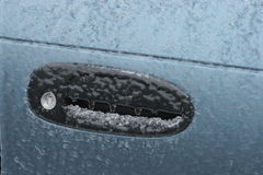 Frozen car door lock due to freezing rain Stock Images