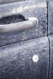 Frozen car door Royalty Free Stock Image