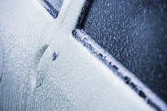 Frozen car door in winter Royalty Free Stock Photo