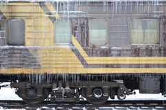 Frozen car of passenger train Royalty Free Stock Photo