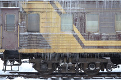 Frozen car of passenger train Stock Image