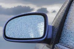 Frozen Car Rearview Mirror Stock Image