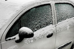 Frozen car during strong frost Royalty Free Stock Image