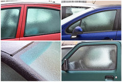 Frozen car windows Stock Photo