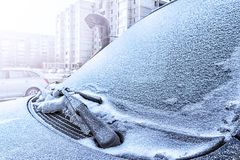 Frozen car windshield covered with stock photo