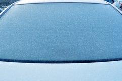 Frozen car windshield in winter Stock Image