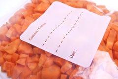 Frozen Carrot Pieces in Plastic Freezer Bag