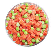 Frozen carrots and green peas Stock Images