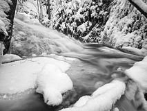 Frozen cascade waterfall, icy twigs and icy boulders in frozen foam of rapid stream. Winter creek. Extreme freeze. Stock Photography