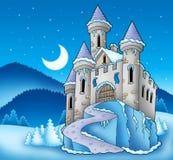 Frozen castle in winter landscape stock image