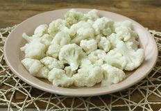 Frozen cauliflower, in ceramic plate Stock Images