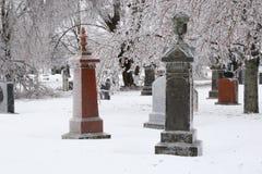 Frozen Cemetery Stock Image