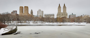 Frozen Central Park Lake with Manhattan Upper West Side skyline Stock Images