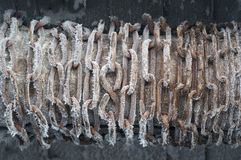 Frozen chain on well Stock Image