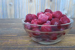 Frozen cherries in a glass bowl Stock Photography
