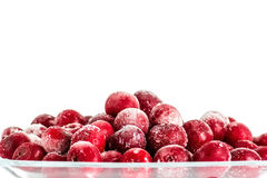Frozen cherries on white background Royalty Free Stock Images