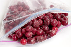 Frozen cherry in packages for freezing Royalty Free Stock Photography
