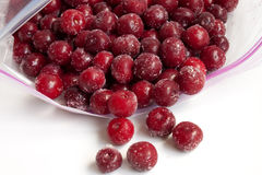 Frozen cherry in packages for freezing Royalty Free Stock Photo
