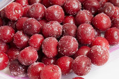 Frozen cherry in packages for freezing Stock Image