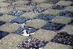 Frozen chess board Royalty Free Stock Photo
