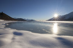 Frozen Chilkat River Royalty Free Stock Images