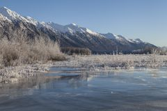 Frozen Chilkat River overflow Royalty Free Stock Photo