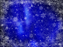 Frozen Christmas background frame. On blue Royalty Free Stock Photography